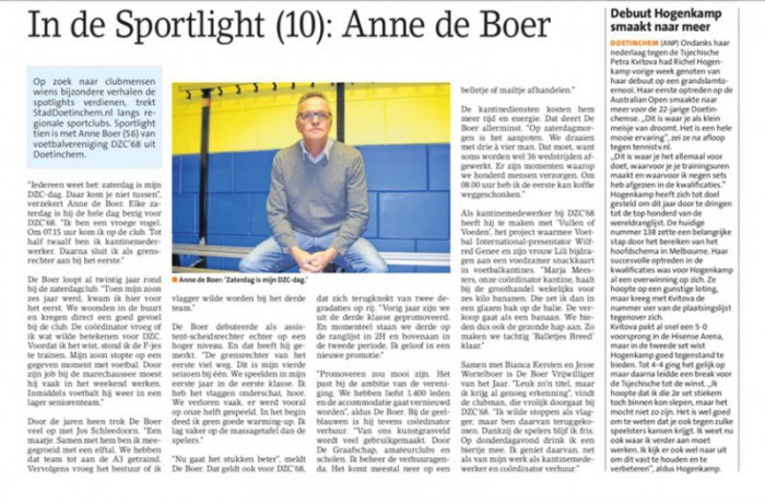 In de Sportlight Anne de Boer