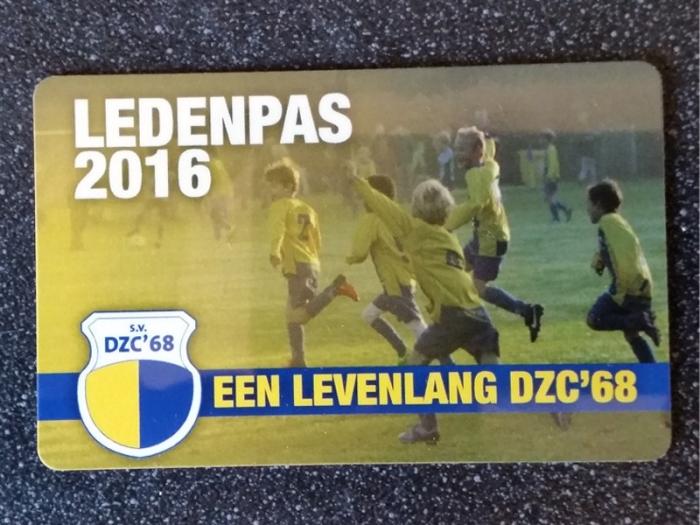 Nieuwe ledenpas DZC'68 in postvakken