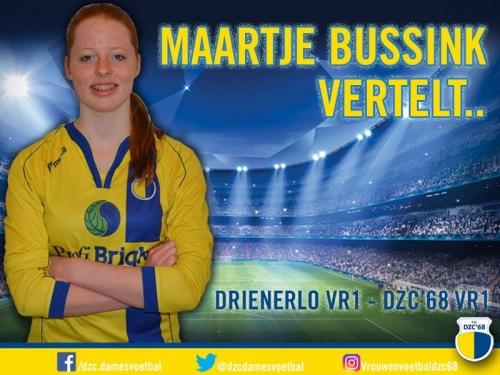 Maartje Bussink vertelt over de wedstrijd Drienerlo VR1 - DZC'68 VR1