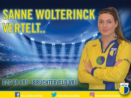 Sanne Wolterinck vertelt over de wedstrijd DZC'68 VR1–Bruchterveld VR1