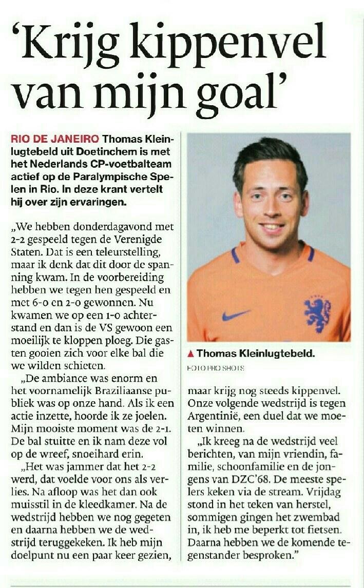 Verslag Thomas Kleinlugtebeld De Gelderlander 10 september
