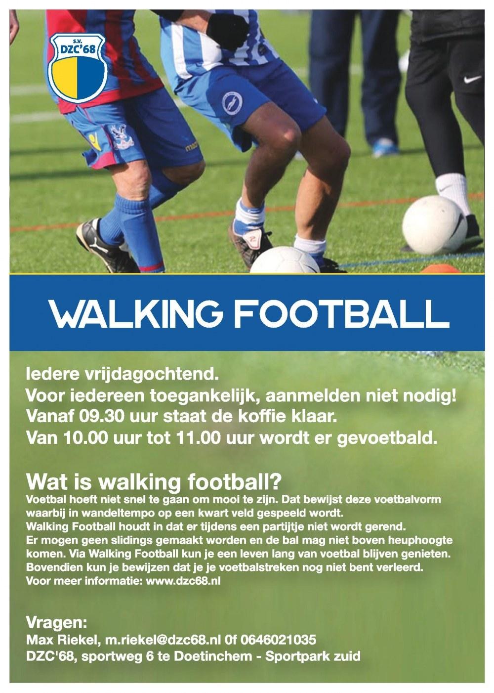 Walking Football bij DZC'68, begin tijd aangepast